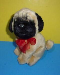 "Pug Dog Bean Plush Tan & Black Seated 9"" Russ Stuffed Animal Bean Bottom"