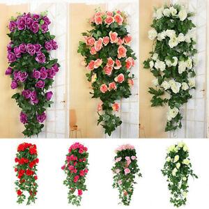 2pcs Artificial Fake Hanging Flowers Rose Vine Garden Home Indoor Outdoor Decor