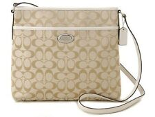 COACH F36378 FILE BAG IN SIGNATURE SILVER/LIGHT KHAKI/CHALK NWT