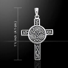 Celtic Knotwork Triskele Cross .925 Sterling Silver Pendant by Peter Stone