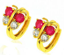 18k 18ct yellow gold filled GF butterfly huggies CZ hoop woman earrings E-A449