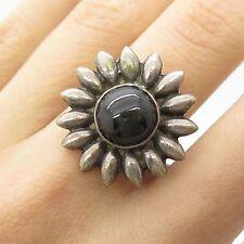 Vtg 925 Sterling Silver Star Sapphire Gemstone Flower Ring Size 6 1/4