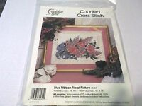 GOLDEN BEE  BLUE RIBBON FLORAL PICTURE COUNTED CROSS STITCH NIP