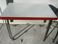 Vintage Red White Enamel Top Table Metal Legs Expandable Porcelain Top Table