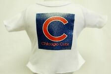 "Chicago Cubs Theme Silver Glitter Transfer T-Shirt For 16"" Or 18"" Dolls"