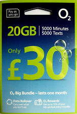 O2 UK prepay SIM card - £30 Big Bundle: 5000 UK mins, 5000 UK SMS, 20GB rollable