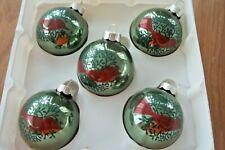 Box Of 5 Martha Stewart Green /  Red Bird Glass Christmas Ornaments  2005