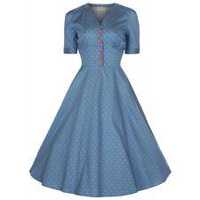 LINDY Bop Blue Swing Dress Rockabilly Retro Pinup Girl Clothing Size 10 12