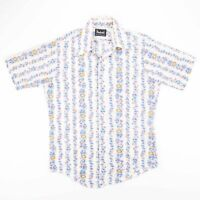 Vintage MANFREDO Blue Floral Stripe Dagger Collar Shirt Size Mens Medium
