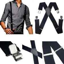Black Mens Women Elastic Suspenders Leather Braces X-Back Adjustable Clip-on ONE