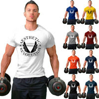 Men Gym Shortsleeve Casual Workout T Shirt Fitness Casual Slim Clothing Tees