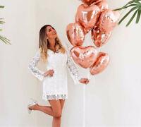 "10PCS Rose Gold 18"" Foil Heart Balloon Set Helium Wedding Party Birthday Decor d"