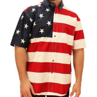 Mens Woven Patriotic Short Sleeve American Flag Shirt 4th of July USA America