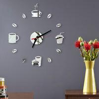 KQ_ 3D Acrylic Mirror Effect DIY Wall Clock Sticker Mural Decal Home Bedroom Dec