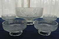 Tiara Indiana Glass Clear Ponderosa Pine 5 piece Salad Bowl Serving Set