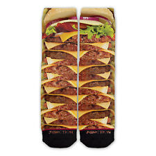Function - Stacked Cheeseburger And Fries Printed Sock novelty socks sublimation