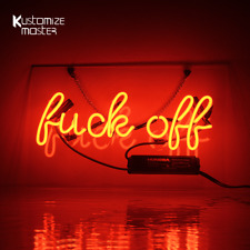 "14""x9""Fvck Off Neon Sign Light Room Wall Hanging Man Cave Nightlight Real Glass"