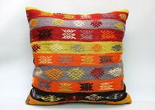 Kilim Square Pillow, 24x24 in, Decorative Sofa Cushion, Handmade Vintage Pillow