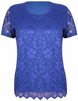 NEW LADIES WOMENS SHORT SLEEVE PLUS SIZE STRETCH FLORAL LACE BLOUSE T-SHIRT TOP