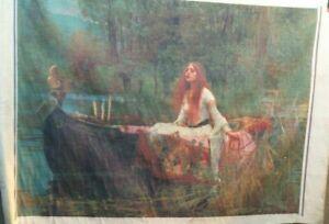 Beautiful THEATRE BACKDROP LADY OF SHALOTT screen print linen wall hanging