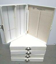 New Listingfisherbrand 03 447 Plastic Microscope Slide Case Off White 100 Slotsbox 5 Pcs