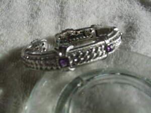 "Judith Ripka Sterling .925 Cuff Bracelet Amethyst hinged  6 1/2"""