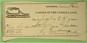 Bank Check, Cahier  of the Catskill Bank, vignette of side wheeler ship. 1831