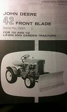 John Deere 42 Front Blade Owner & Parts (2 Manuals) 110 112 Lawn Garden Tractor