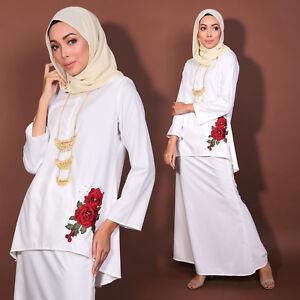 New Women Muslimah LongSleeve Kurung Embroidery Flower PlusSize Vanilla Cream
