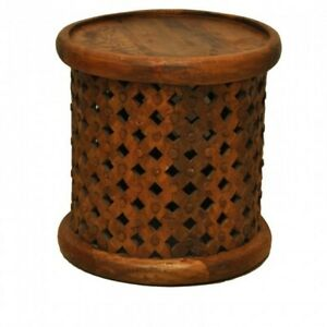 Bristol Wooden Carved Round Coffee Table INDIAN HANDMADE FURNITURE