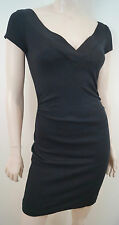 DIANE VON FURSTENBERG Black Plunge V Neck Short Sleeve Fitted Mini Dress 6 UK10