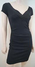 DIANE VON FURSTENBERG Black Plunge V Neck Short Sleeve Fitted Mini Dress 6 UK10
