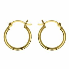 24ct Gold-Plated 925 Sterling Silver 18mm French Lock Creole Hoop Earrings