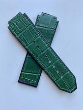 Hublot Big Bang 45mm strap Black rubber back GREEN Leather - medium Length