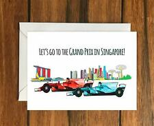 Lets go to the Grand Prix in Singapore F1 greeting card A6