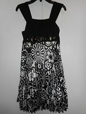 Girls Sequin Hearts Holiday Dress Black White Polyester Youth Size 12 Euc