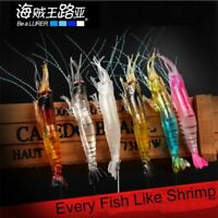 Luminous Soft Sea Fishing Shrimp Fake Bait Prawn Lure Hook Worm Silicone