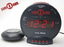 Sonic Bomb Alarm Clock with vibrating Bed Shaker SBB500ss Black Extra Loud 85dB
