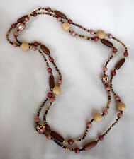 """Vintage Wooden Brown & Multi-Color Earthtone Bead Necklace 56"""" Strand"""
