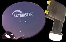 60cm SAT Antenne Skymaster Satellitenschüssel Digital +2-Fach LNB Spiegel HD 3d