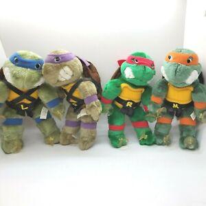 Vintage 1989 Plush TMNT Ninja Turtles Window Cling Plush Playmates Set of 4