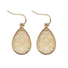 Christmas Gift New Gold Filigree Floral Teardrop Earrings Openwork Drop Jewelry