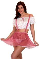 Sexy Lingerie Naughty Farm Girl Costume Red / White top  and Panty included (L)