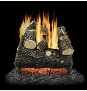 Pleasant Hearth 18-in 30000-BTU Dual-Burner Vent-Free Gas Fireplace Logs