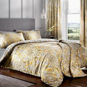 Maduri Ochre And Grey Duvet Cover Sets,With Matching Curtains To Buy Separate