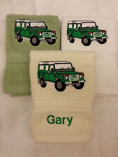 PERSONALISED LAND ROVER FACE CLOTH  NAME  CHRISTMAS GIFT FLANNEL  EMBROIDERED!