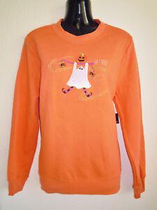 HALLOWEEN 🎃 Damen Pulli Shirt 🎃 Sweater fleecegefüttert 🎃 GESPENST 🎃 38/40