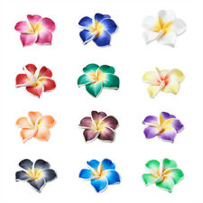 200x Handmade Polymer Clay 3D Flower Plumeria Beads Mixed Color 12x8mm Hole 2mm