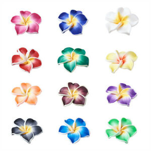 200x Handmade Polymer Clay 3D Flower Plumeria Beads Mixed Color 15x8mm Hole 2mm
