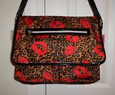 NWT Betsey Johnson MESSENGER BAG Cheetah Lips Natural